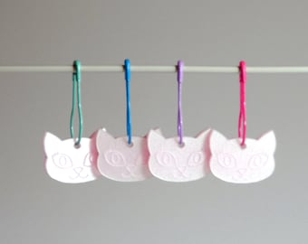 Bella Cat Stitch Markers Set of 4 Pink Iridescent Shimmer on Green Blue Lilac pins