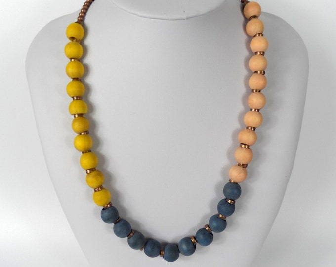 """Chunky Wooden Bead Necklace 20""""      Naturally Dyed       Yellow Blue & Pink"""