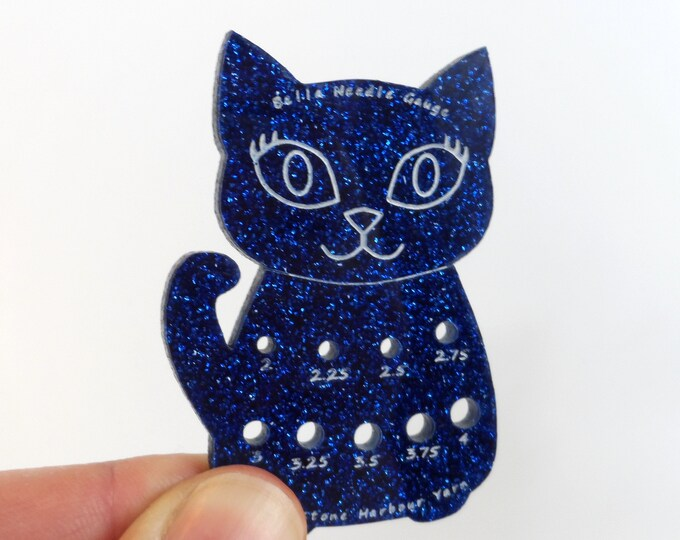 Bella Cat Mini Knitting Needle Gauge Metric  Dark Blue Glitter