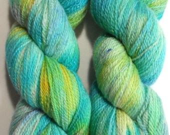 Tiklari Variegated Speckled Merino and Stellina Sock Yarn Turquoise Blue Pearl Grey Gold