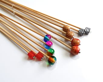 2.25mm up to 3mm Metric Sizes Handmade Beaded Bamboo Knitting Needles