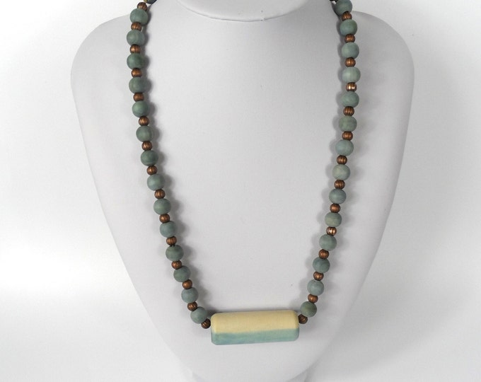 """Chunky Wooden Bead Necklace  20""""     Naturally Dyed       Blue Dip Dyed"""
