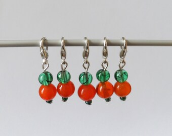 Green and Orange Glass Stitch Markers Set of 5