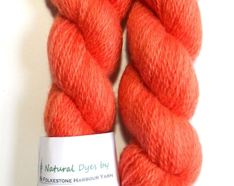Madder Coral Pinky Orange BFL Sock 50g Blue Faced Leicester