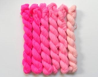 Hot Pink Semi Solid Gradient Mini Skein Set Sock 4 ply 60g