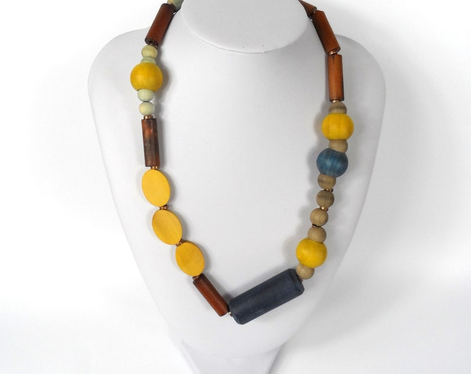 """Chunky Wooden Bead Necklace 20""""       Naturally Dyed       Assymmetric Yellow Blue & Brown"""