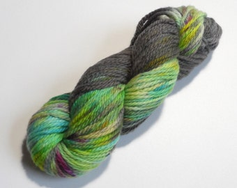 Grey Gardens Variegated Chunky Merino Yarn 100g Grey Turquoise Yellow Purple