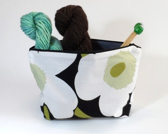 Marimekko Mini Unikko Zip Pouch in Black White and Green size Medium 10""