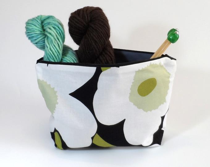 "Marimekko Mini Unikko Zip Pouch in Black White and Green size Medium 10"""