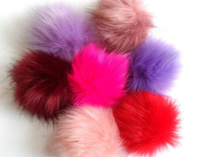 Fake Fur Pom Poms Reds Pinks Purples