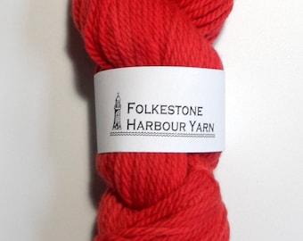 Vermillion Red Chunky Merino Wool Yarn 100g 23