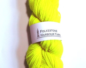 Fluro Yellow Aran Merino Superwash 100g