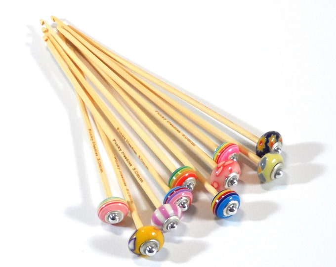 3mm Metric Size Handmade Beaded Bamboo Crochet Hook