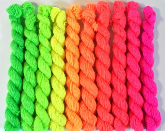 The Day the World Turned Day Glo Solid Gradient Mini Skein Set 100g Sock Yarn