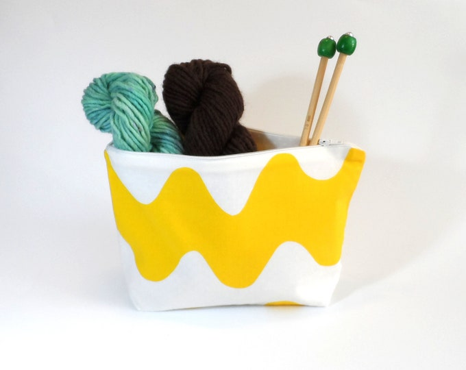 "Marimekko Yellow Lokki Zip Pouch in 2 Sizes Medium 10"" & Small 7"""