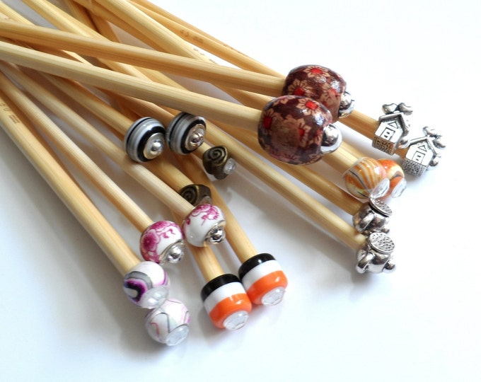5mm up to 6.5mm Metric Sizes Handmade Beaded Bamboo Knitting Needles