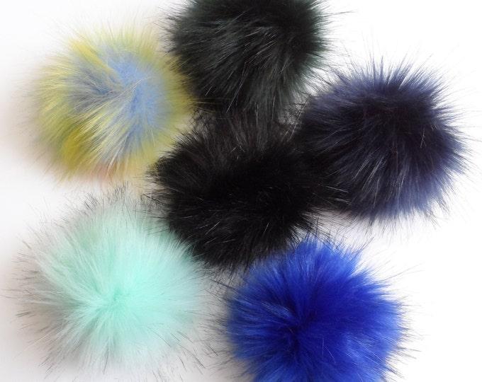 Fake Fur Pom Pom  choice of colours  Blue Green Black
