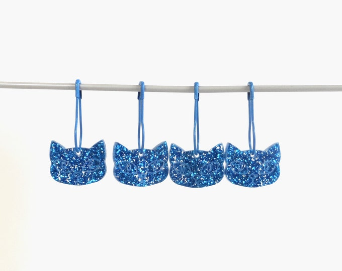 Herman Cat Stitch Markers Set of 4 Turquoise Glitter