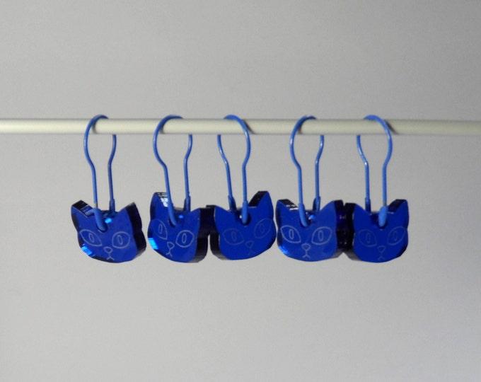 Herman Cat Stitch Markers Set of 5 Dark Blue Translucent