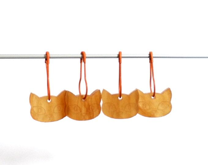 Herman Cat Stitch Markers Set of 4 Ginger Tom Orange Pearlescent Marbled