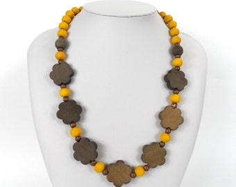 """Chunky Wooden Bead Necklace 20""""      Naturally Dyed       Yellow and Brown Flowers"""
