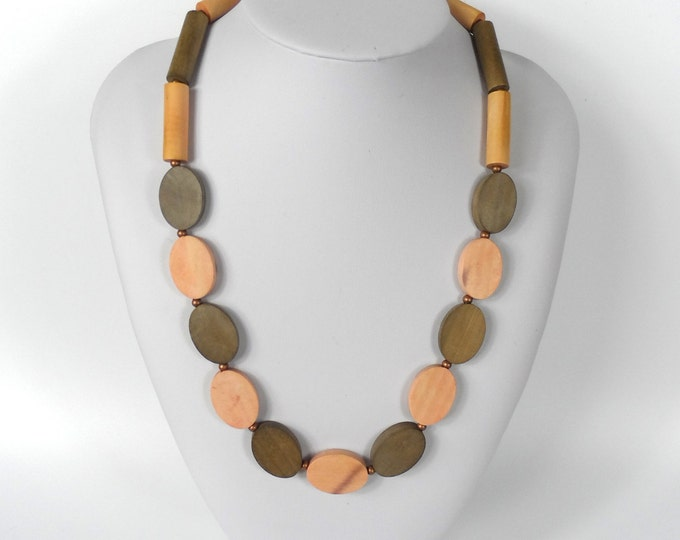 Chunky Wooden Bead Necklace       Naturally Dyed       Brown & Pink