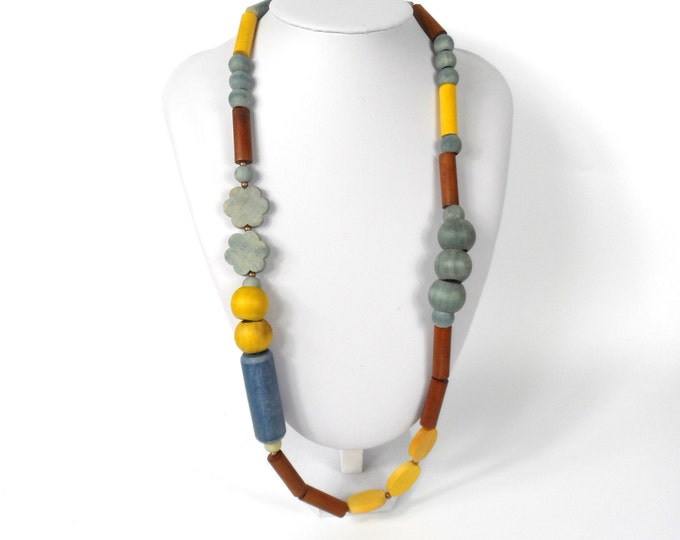 """Chunky Wooden Bead Necklace 28""""       Naturally Dyed       Assymmetric Yellow Blue & Brown"""