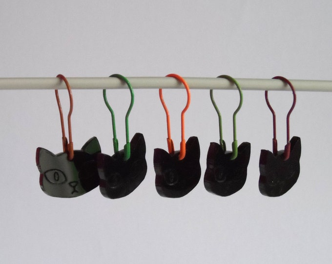 Herman Cat Stitch Markers Set of 5 Charity Edition Autumn Fall Colours
