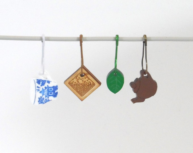 Tea Time Stitch Markers Set of 4