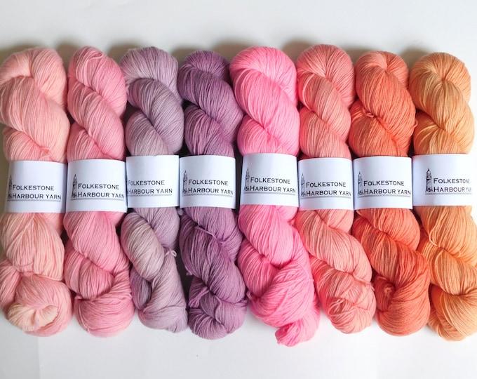 Sunset Beach        Single 100g Skein of Merino Blend Sock Yarn     Choice of 8 colours