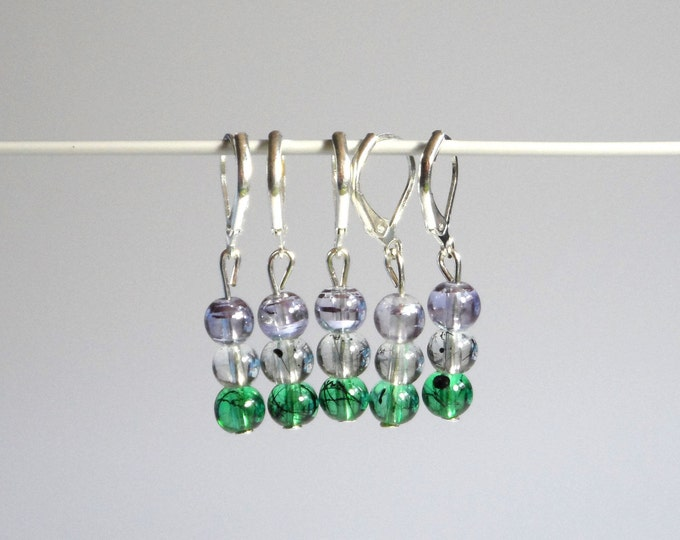 Green and Purple Marble Glass Stitch Markers Set of 5   Choice of clasps