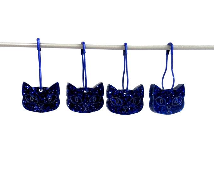 Herman Cat Stitch Markers Set of 4 Blue Glitter