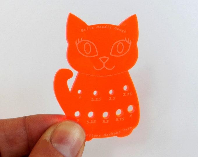 Bella Cat Mini Knitting Needle Gauge Metric  Acid Orange Fluro