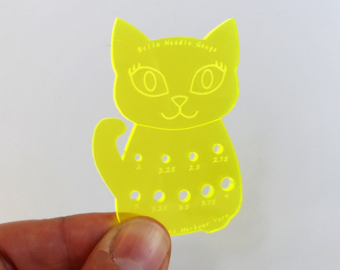 Bella Cat Mini Knitting Needle Gauge Metric  Acid Yellow Fluro
