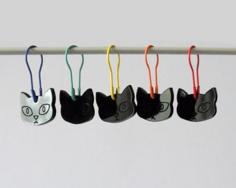 Herman Cat Stitch Markers Set of 5 Charity Edition Black Rainbow