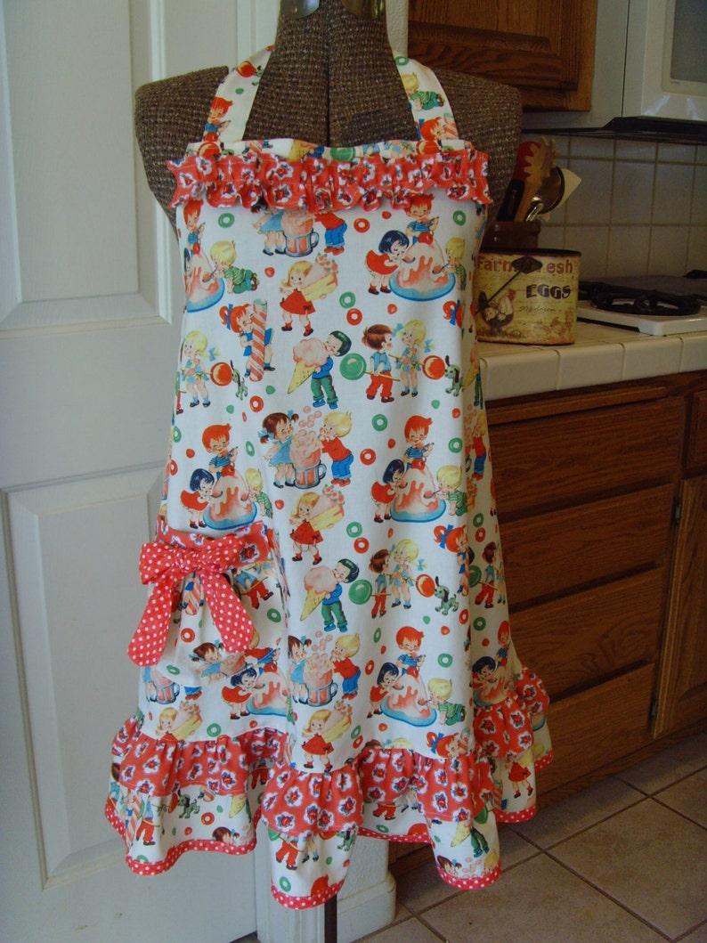 802056de8d2df Aprons/ Women's Apron/ Retro Baby Doll Apron/ Ruffle Swing Style Apron  Michael Miller Fabric Candy Shop/Valentine Apron