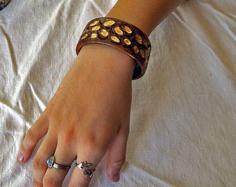 Wood Bracelet Bangle with Gold Leaf and Space