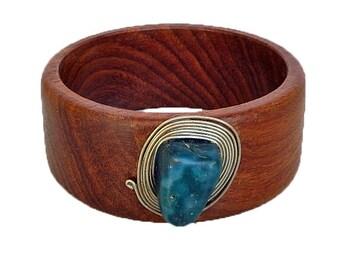 Wood Bracelet/Bangle with Blue Agate