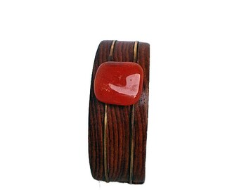 Wood Bangle/Bracelet with Carnelian Gemstone and Brass - Stretchable