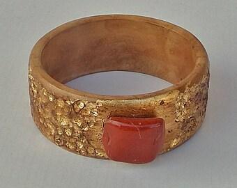 SALE!! 50% discount!! Wood Bracelet Bangle with Hammered Gold (Leaf) with Reddish-Brown Jasper