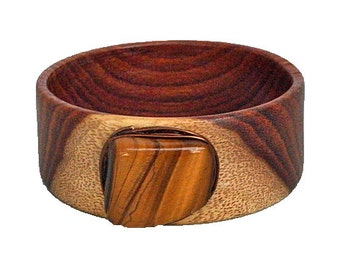 SALE!! 50% discount!! Wooden Bracelet/Bangle with Tiger's Eye.
