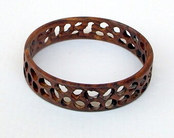 Brown Wood Bracelet/Bangle with Spaces - Spatially Yours