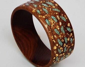 Wood Bracelet-Bangle -- Turquoise and Gold