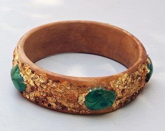Bracelet Bangle from Olivewood with Hammered Gold (Leaf) and Malachite