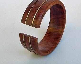 Open Cuff Wood Bracelet with Brass - Cuff Beauty