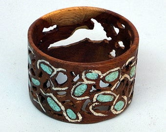 Wood Bracelet Bangle with Turqoise and Space