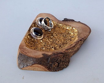 Olivewood Jewelry Dish Gold Leaf Stone Inlay