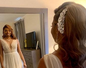 Bridal comb hair piece floral Large Wedding side hair comb Gold Bridal hair comb Rose gold Wedding hair accessories Silver Wedding hair comb