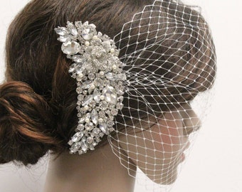 Bridal veil headpiece Bird cage veil with rhinestone Wedding birdcage veil Bridal birdcage headpiece Wedding veil Fascinator birdcage veil