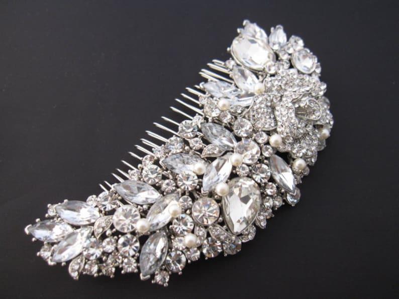 wedding hair comb silver bridal hair piece rose gold Wedding comb Crystal Bridal comb Rhinestone hair comb Large Bridal hair comb Prom hair